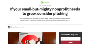 Growing small non-profits through pitching